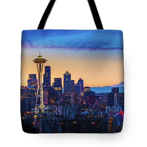 Seattle Dawn Panorama Tote Bag