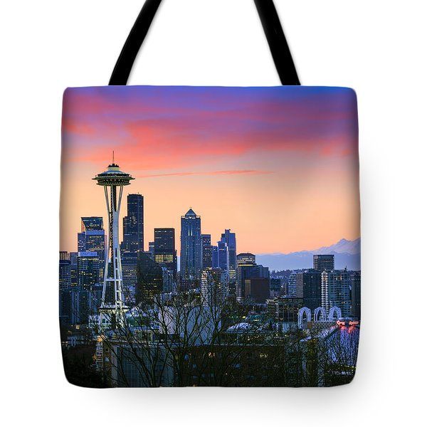 Seattle Waking Up Tote Bag