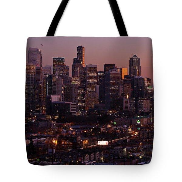 Seattle Dusk Tote Bag by Mike Reid