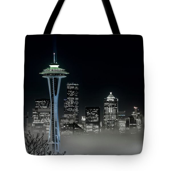 Seattle Foggy Night Lights In Bw Tote Bag