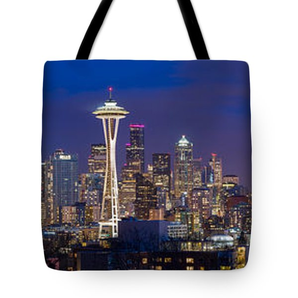 Seattle Night View Tote Bag by Ken Stanback