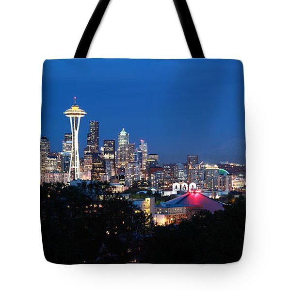 Seattle Panorama At Twilight Tote Bag