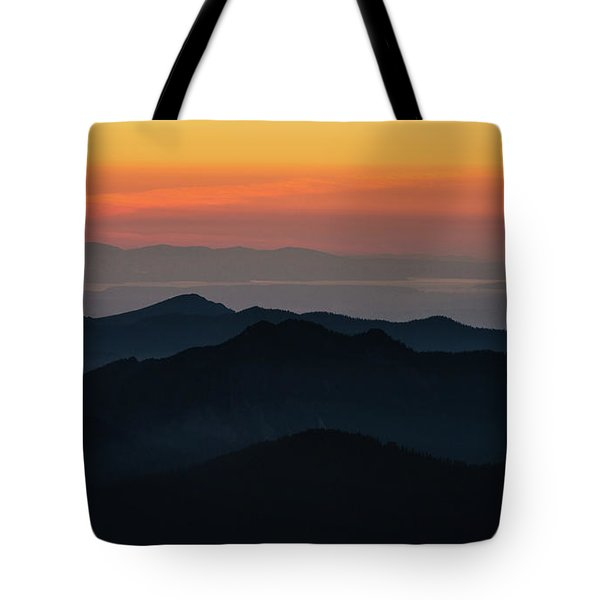 Seattle Puget Sound And The Olympics Sunset Layers Landscape Tote Bag