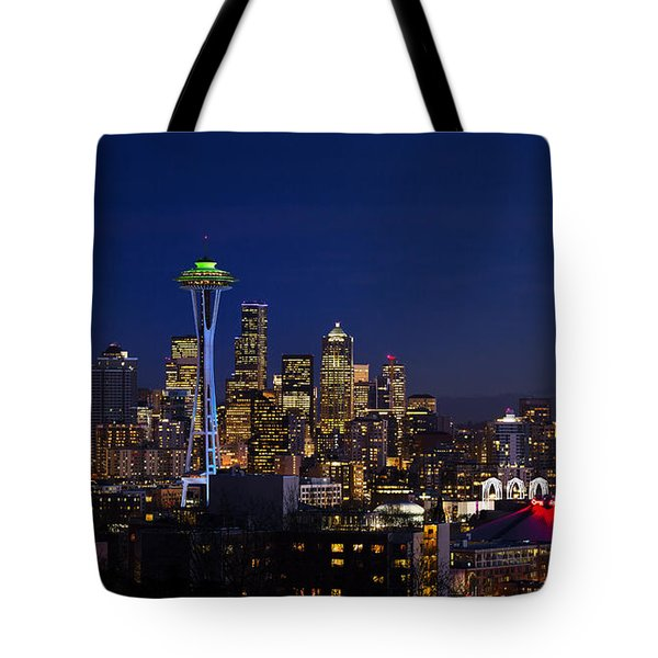 Seattle Seahawks Space Needle Tote Bag by Mary Jo Allen