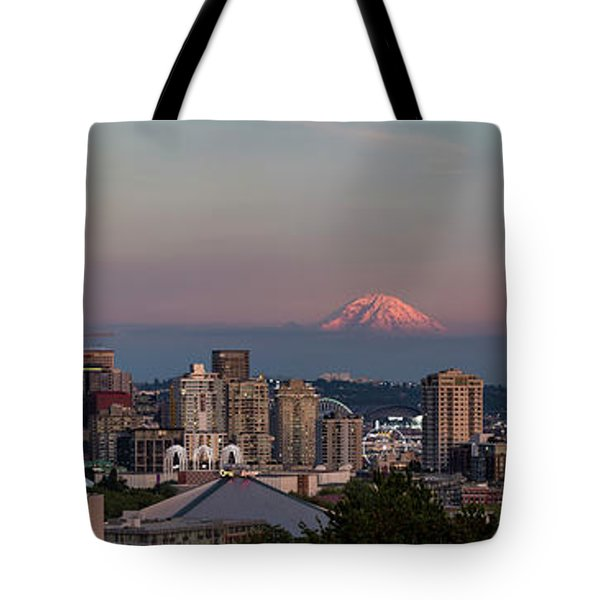 Tote Bag featuring the photograph Seattle Skyline And Mt. Rainier Panoramic Hd by Adam Romanowicz