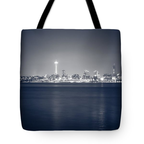 Seattle Skyline At Night Tote Bag