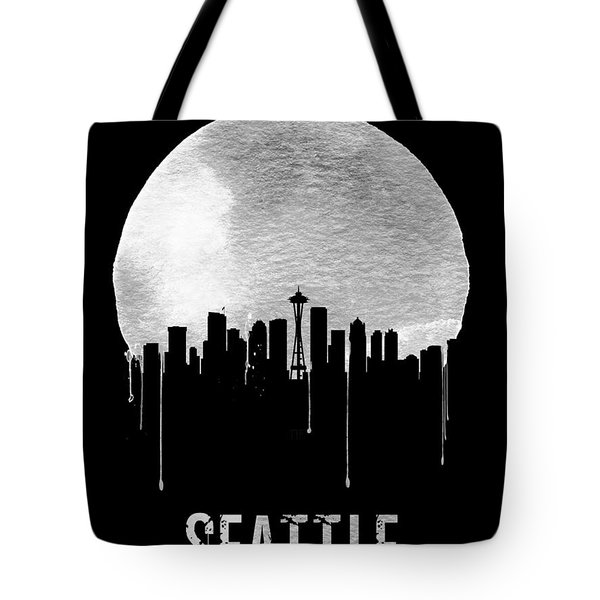 Seattle Skyline Black Tote Bag by Naxart Studio