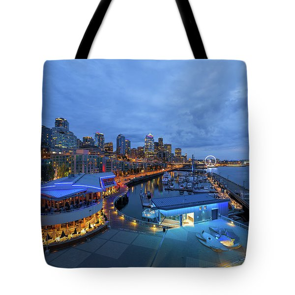 Seattle Skyline From The Waterfront At Blue Hour Tote Bag