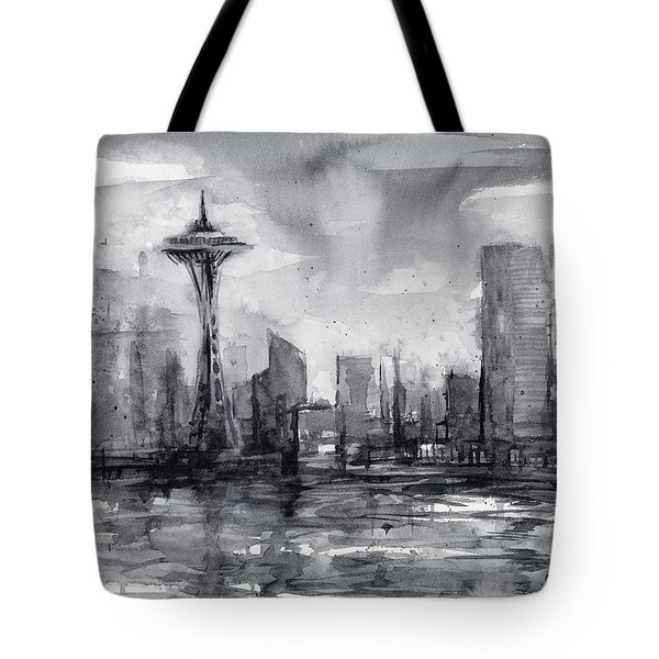 Seattle Skyline Painting Watercolor  Tote Bag by Olga Shvartsur
