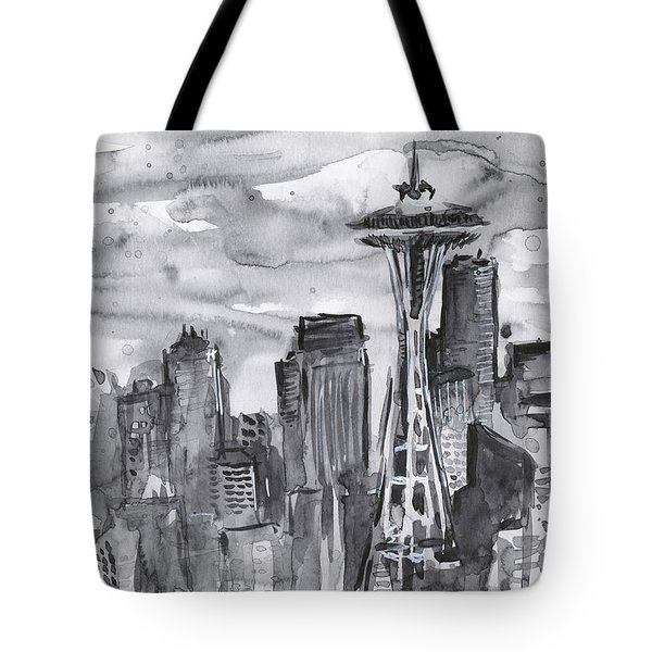 Seattle Skyline Space Needle Tote Bag by Olga Shvartsur