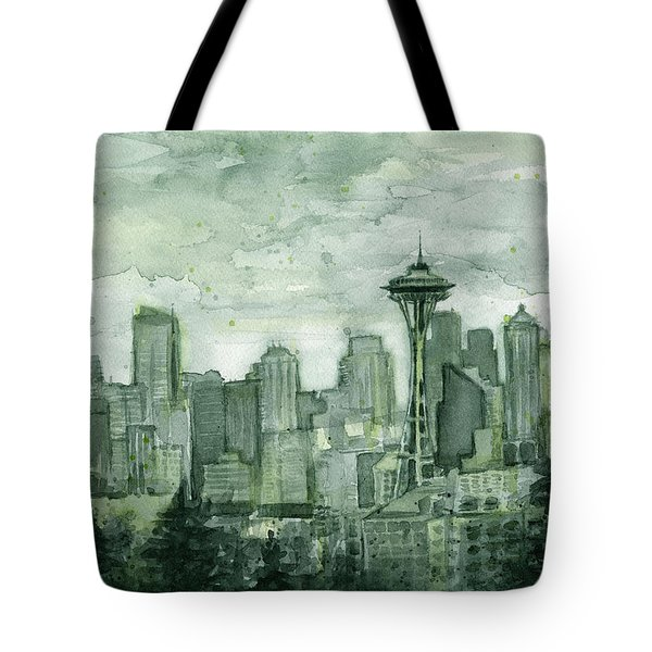 Seattle Skyline Watercolor Space Needle Tote Bag by Olga Shvartsur