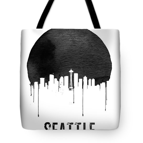 Seattle Skyline White Tote Bag by Naxart Studio