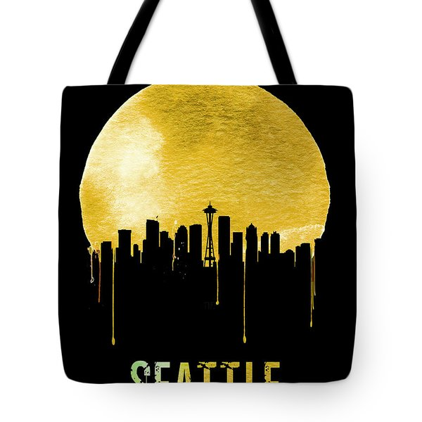 Seattle Skyline Yellow Tote Bag by Naxart Studio