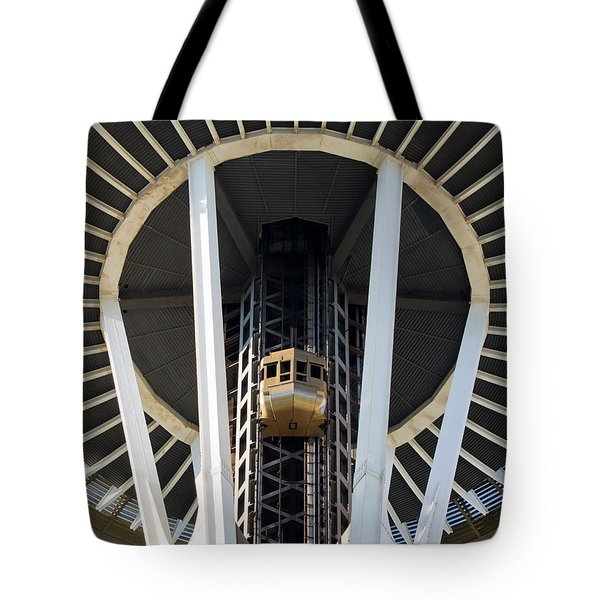 Tote Bag featuring the photograph Seattle Space Needle Elevator by Chris Dutton