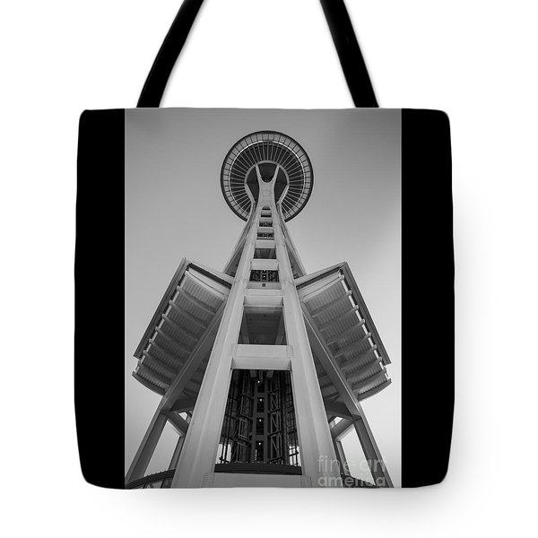 Seattle Space Needle In Black And White Tote Bag