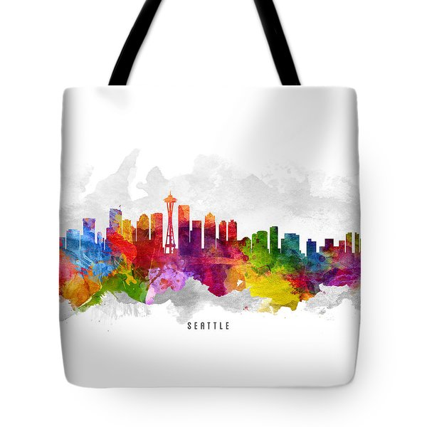 Seattle Washington Cityscape 13 Tote Bag by Aged Pixel