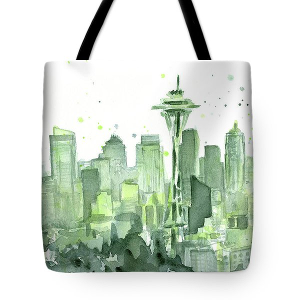Seattle Watercolor Tote Bag by Olga Shvartsur