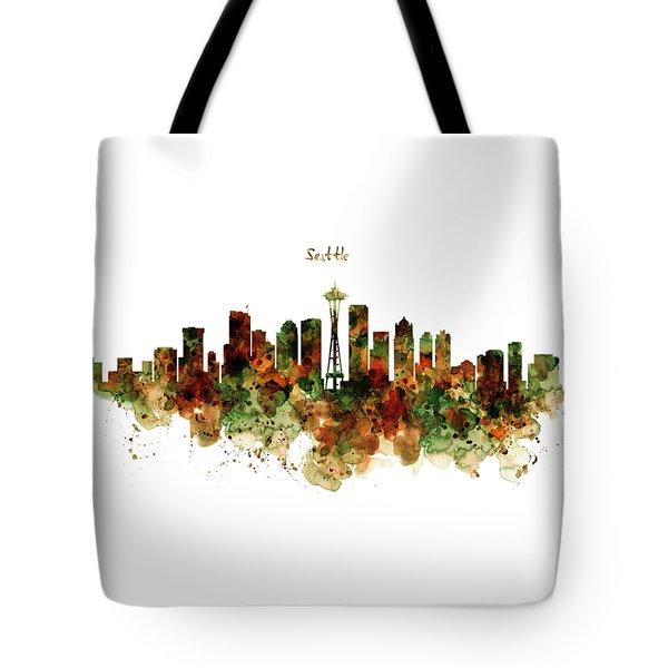 Tote Bag featuring the mixed media Seattle Watercolor Skyline Poster by Marian Voicu
