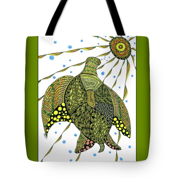 Tote Bag featuring the drawing Seaturtle  by Barbara McConoughey