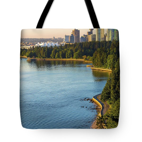 Seawall Along Stanley Park In Vancouver Bc Tote Bag by David Gn