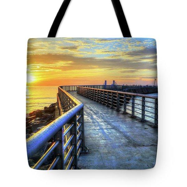 Sebastian Inlet Pier Along Melbourne Beach Tote Bag