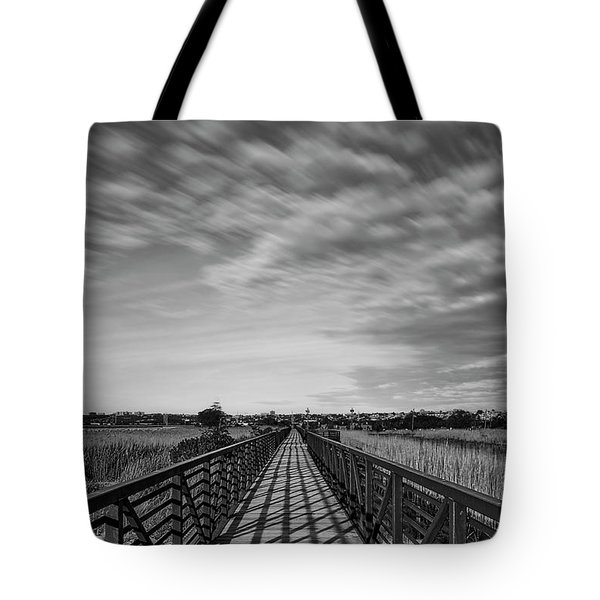 Tote Bag featuring the photograph Secaucus Greenway Trail Nj Bw by Susan Candelario