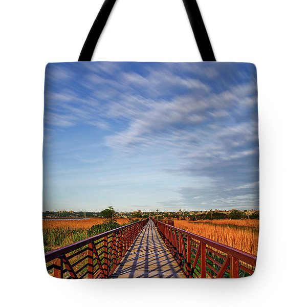 Tote Bag featuring the photograph Secaucus Greenway Trail Nj by Susan Candelario