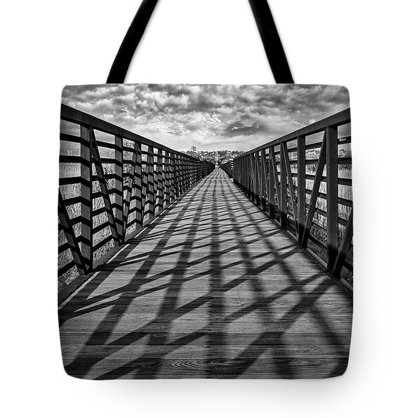 Tote Bag featuring the photograph Secaucus Nj Greenway Trail Bw by Susan Candelario