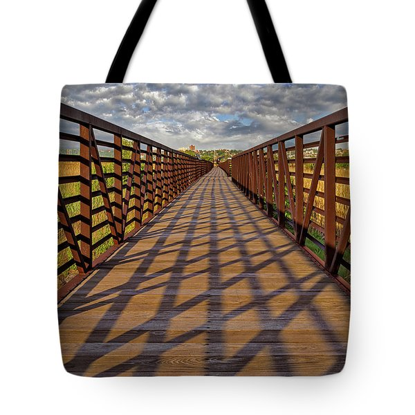 Tote Bag featuring the photograph Secaucus Nj Greenway Trail  by Susan Candelario