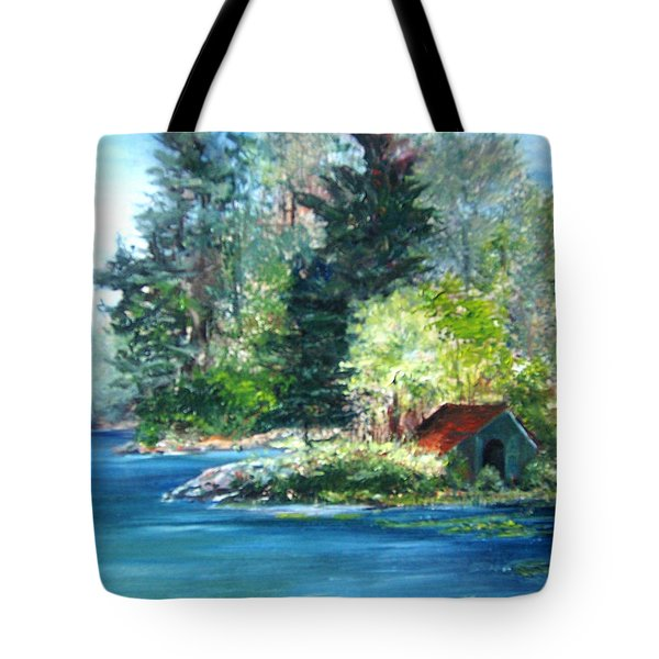 Secluded Boathouse-millsite Lake  Tote Bag