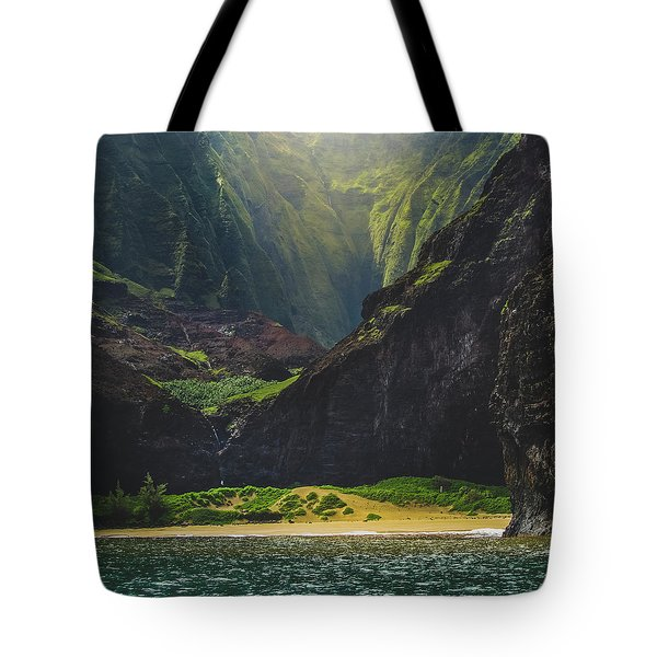 Tote Bag featuring the photograph Secluded Kalalau Beach by Andy Konieczny