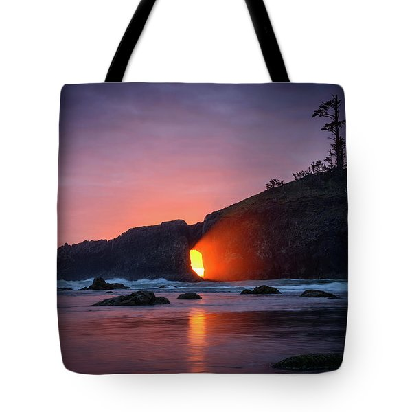 Tote Bag featuring the photograph Second Beach Light Shaft by Dan Mihai