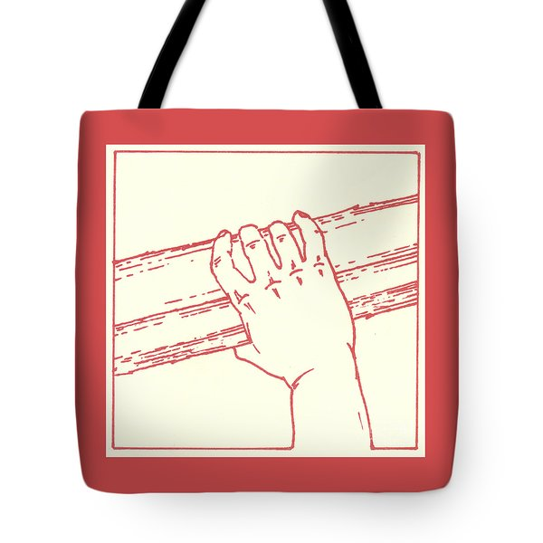 Tote Bag featuring the drawing Second Station- Jesus Is Made To Carry His Cross by William Hart McNichols