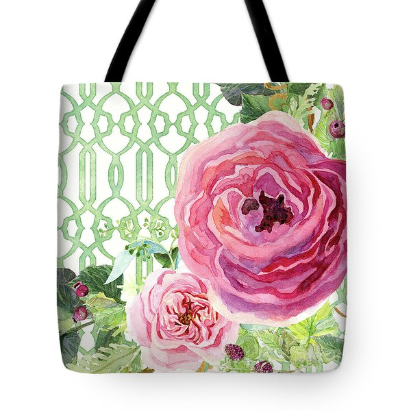Tote Bag featuring the painting Secret Garden 3 - Pink English Roses With Woodsy Fern, Wild Berries, Hops And Trellis by Audrey Jeanne Roberts