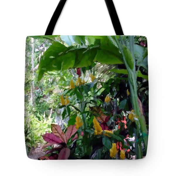 Tote Bag featuring the painting Secret Garden Cat by David  Van Hulst