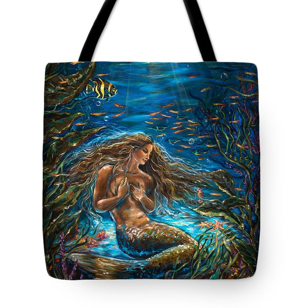 Tote Bag featuring the painting Secret Garden In The Sea by Linda Olsen