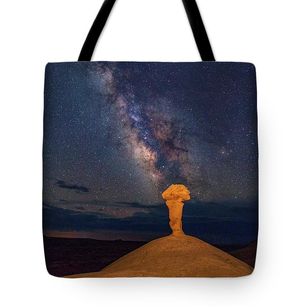 Secret Spire And The Milky Way Vertical Tote Bag