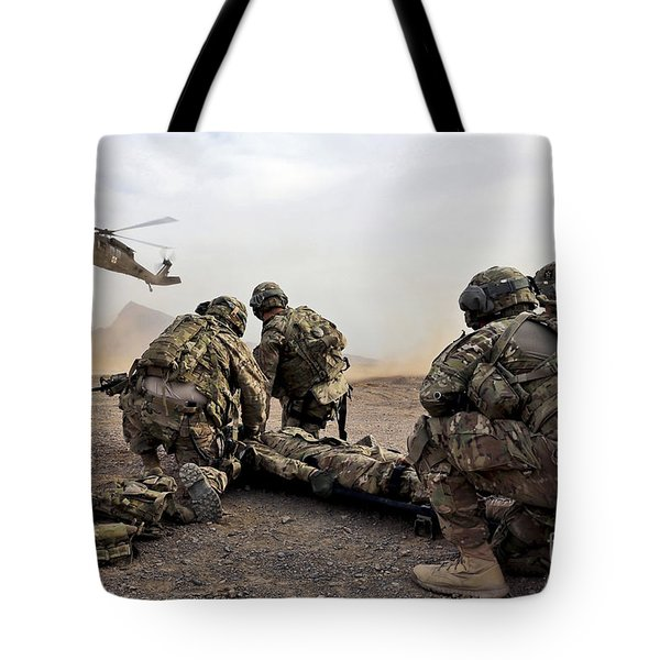 Security Force Team Members Wait Tote Bag by Stocktrek Images