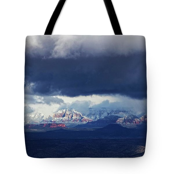 Tote Bag featuring the photograph Sedona Area Third Winter Storm by Ron Chilston