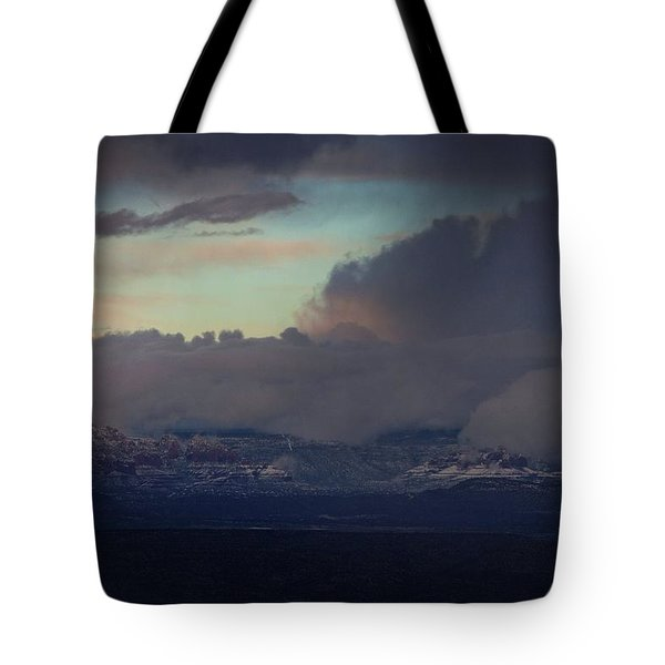 Sedona At Sunset With Red Rock Snow Tote Bag by Ron Chilston