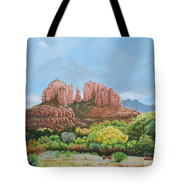 Tote Bag featuring the painting Sedona Az by Mike Ivey