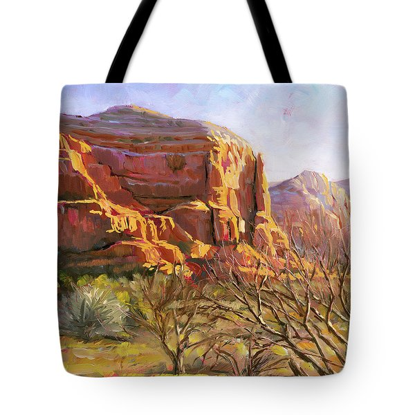 Tote Bag featuring the painting Sedona Morning by Lesley Spanos