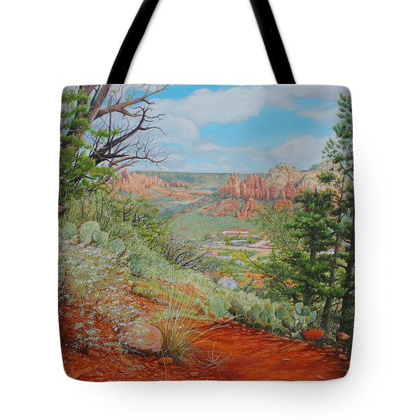 Tote Bag featuring the painting Sedona Trail by Mike Ivey