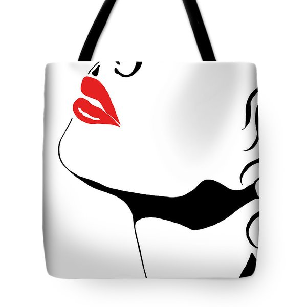 Tote Bag featuring the painting Seduction With Red Lips - Sharon Cummings by Sharon Cummings