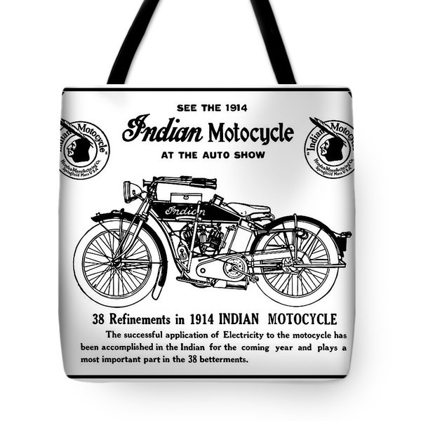 Tote Bag featuring the mixed media See New 1914 Indian Motocycle At The Auto Show by Daniel Hagerman