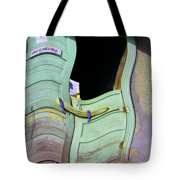 See-through Green And Red Doors Tote Bag by Lenore Senior