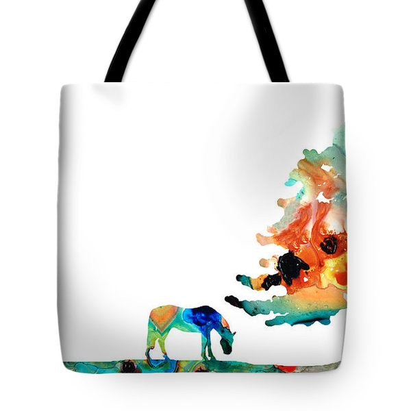 Seeking Shelter - Colorful Horse Art Painting Tote Bag by Sharon Cummings