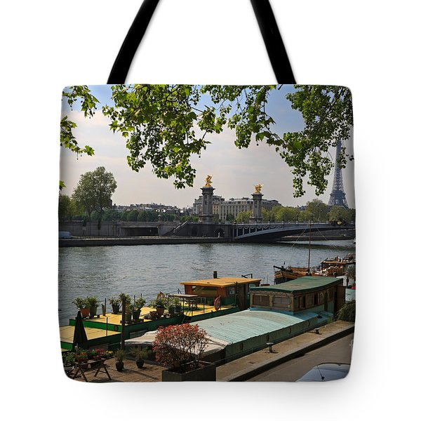 Seine Barges In Paris In Spring Tote Bag by Louise Heusinkveld