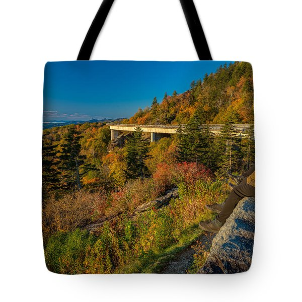 Seize The Day At Linn Cove Viaduct Autumn Tote Bag