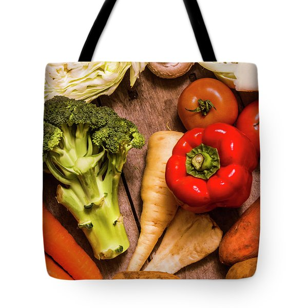 Selection Of Fresh Vegetables On A Rustic Table Tote Bag by Jorgo Photography - Wall Art Gallery